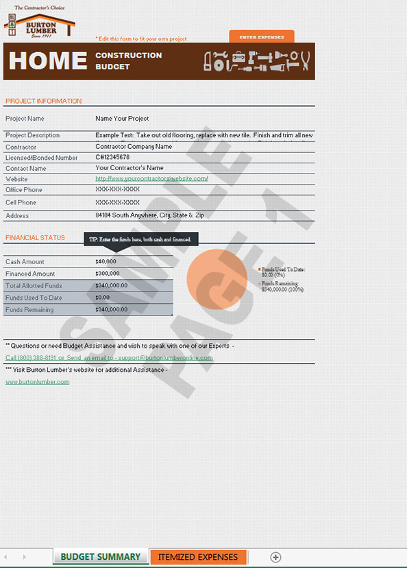 home construction budget form pg1 building supplies