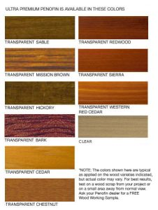 Penofin Ultra Premium Red Label Color Chart